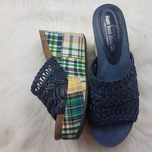 Right Bank Shoe Co Plaid Intertwined Wedge Heels